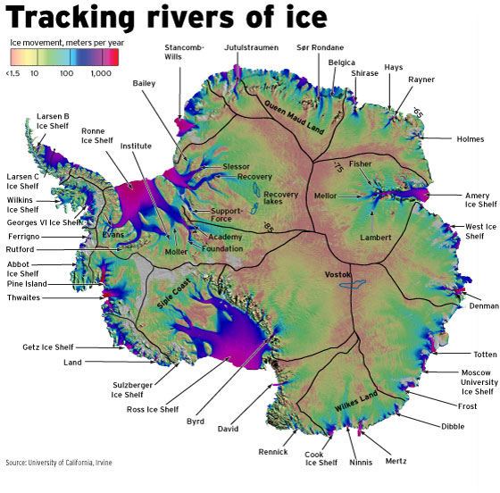 key-glaciers-of-antartica-with-ice-velocities-from-2008-to-2009